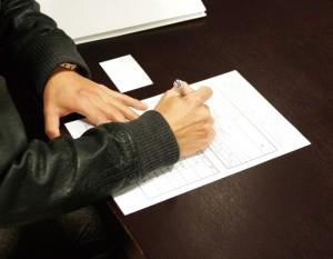 申し込み書類に記入